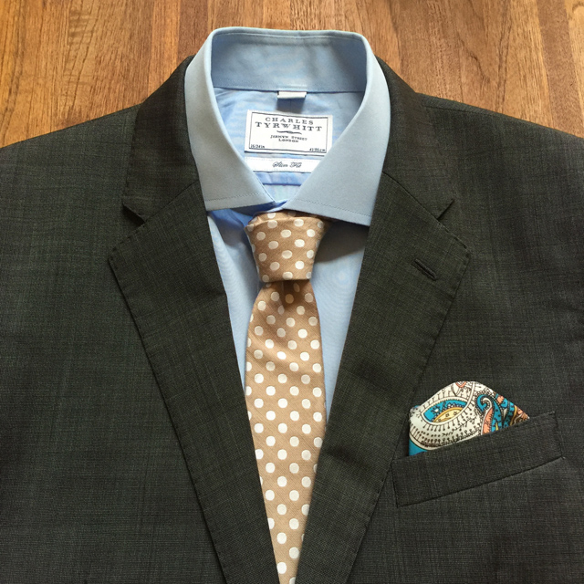 Outfit Grid Blue Shirt Brown Tie