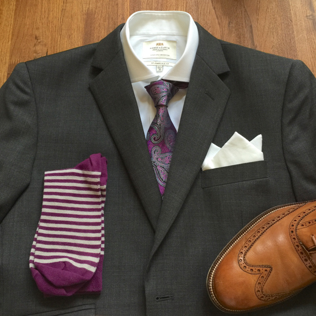 Outfit Grid Charcoal Suit and Purple Tie